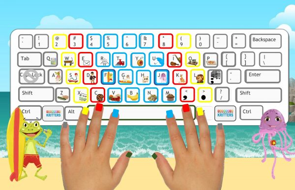 poster frog jellyfish hand nails keyboard ocean