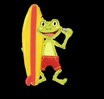 frog surfboard kritter